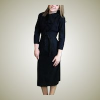Navy Blue Vintage Covered Button Slim Dress
