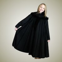 Magnificent Black Wool & Velvet Full Coat