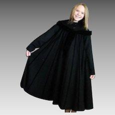 Magnificent Black Wool & Velvet Full Coat