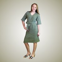 Lovely Vintage Sage Green Hand Knit Dress