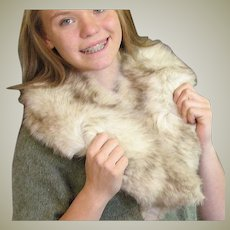 Vintage Gray Fox Fur Large Collar