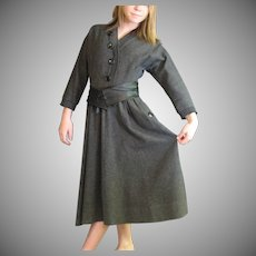 Exceptional Gray Wool Vintage Dress
