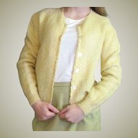 1950's Yellow Mohair Blend Shoulderege Souffle Cardigan