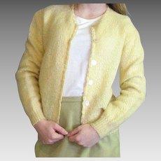 1950's Yellow Mohair Blend Shoulderege Souffle Cardigan
