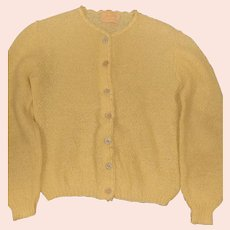 1950's Yellow Mohair & Wool Knit Sweater