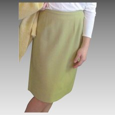 Vintage Celery Green Wool Straight Skirt