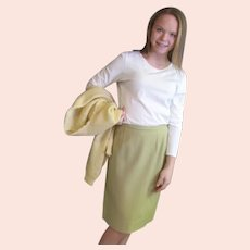 Light Green Wool Slim Skirt