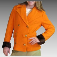 Vintage 1970's Orange Wool Double Breasted Blazer