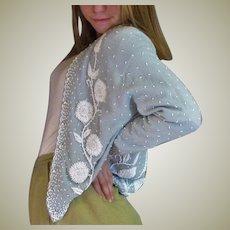 Vintage 1950's Heavy  Beaded Cardigan Sweater