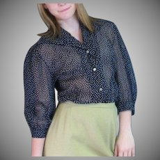 Lovely Vintage Navy Blue Dotted Swiss Blouse