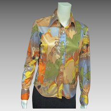 Statement '70's French Impressionist Printed Shirt