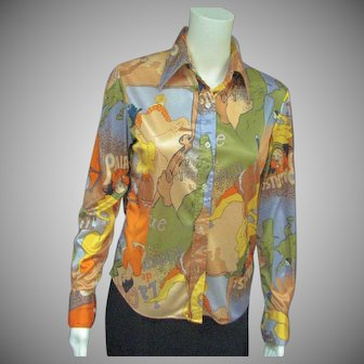 Statement '70's French Impressionist Printed Shirt
