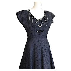 Beautiful Sophisticated Navy Blue Lace & Pearl Dress