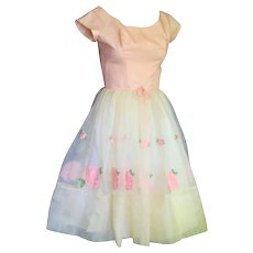 Spectacular 1950's Party Organdy & Pink Embroidery Dress