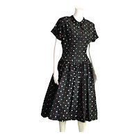Vintage Black Taffeta Mode O'Day Full Skirt Dress