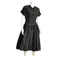 Vintage Black Taffeta Mode O'Day Full Skirt Dress
