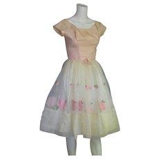 Vintage 50-60's Full Skirt Prom Dress