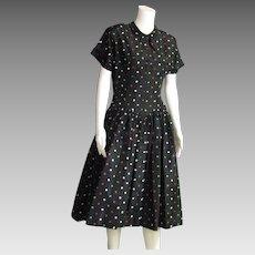 Pretty 1950's Taffeta Multi Colored Full Skirt Dress