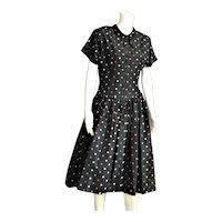 1950's Black Taffeta Mode O Day Dress