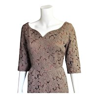 Outstanding 1940's Coco Colored Cotton Lace & Satin Dress