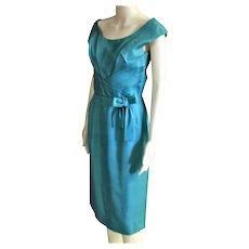 Beautiful Aqua Silk Shantung 1950's Dress
