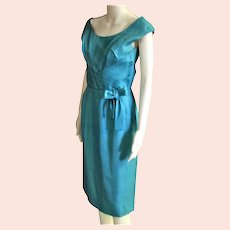 Beautiful Aqua Silk Shantung 1950's Dress