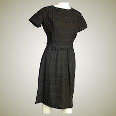 Vintage 1960'a Black Cotton Lace Dress