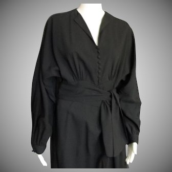 Vintage Dolmen Sleeve 1940's Dress