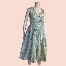 Vintage 1950's Aqua & White Dress