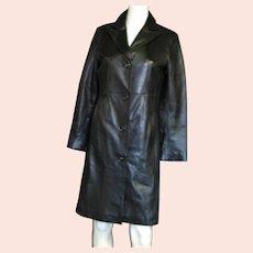 Women's Small Black Leather Long Coat