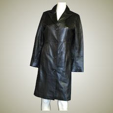 Women's Small Black Leather Long Coat