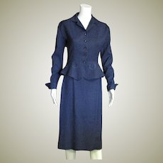 Early 1950's Two Piece Suit In Blue & Black