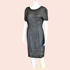 Beautiful Black Silk Beaded Dress
