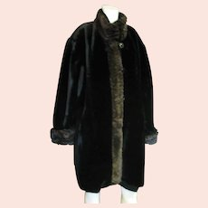 Lovely Faux Fur Full Length Coat With Trim