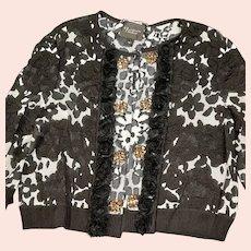 St. John's Couture Black & White Cardigan