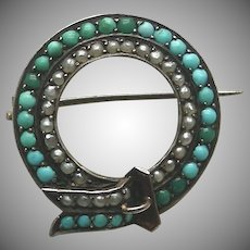 A Victorian Pave Turquoise & Pearl Buckle Motif Brooch Hallmarked Vienna