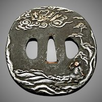 Edo Period Japanese Tsuba Depicting The Legend Of Hakuryo & The Hagoromo