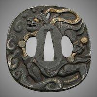 Edo Period Japanese Tsuba (Sword-Guard) Depicting Raijin, God Of Thunder