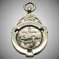 A Sterling Billiard Themed Enamel Watch Fob Or Pendant Dated 1934