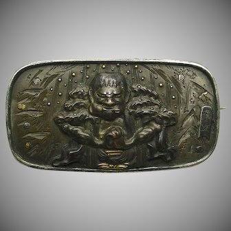 A Japanese Mythological Shakudo & Silver Brooch Circa 1880