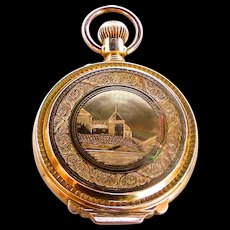 A 14K 18 Size Box Hinge Hunting Case Waltham Pocket Watch Circa 1880