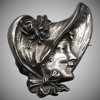 "Sterling Art Nouveau Large Unger Bros. ""Gibson Girl"" Brooch Dated 1903"