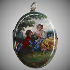 An Amazing & Colorful Handpainted Guilloche Silver Locket