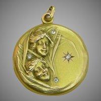 A 14K Gold Art Nouveau Locket With Diamonds