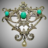 A Massive French Paste & Turquoise Sterling & 18K Stomacher Brooch Ca. 1890