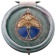 An 18K Enamel Art Nouveau Diamond Locket Signed Masriera Circa 1900
