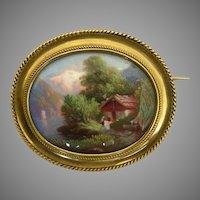 An 18K Victorian Swiss Enamel Miniature Painting Scene Brooch