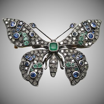 A 14K Gold & Silver Set Butterfly Brooch With Diamonds, Sapphires, And Emeralds