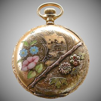 Lovely Ladies' Enamel & Multicolor Gold-Filled Pendant Watch