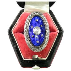 A 15K English Georgian Enamel Rose Cut Diamond Ring, Circa 1780